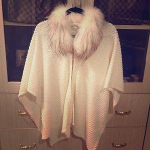 Alice and Olivia beige cape sweater